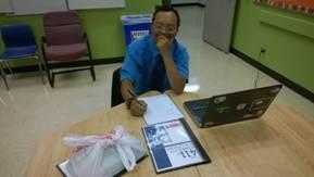 Alan working