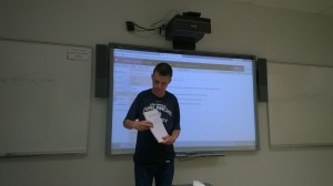 The author presenting in class